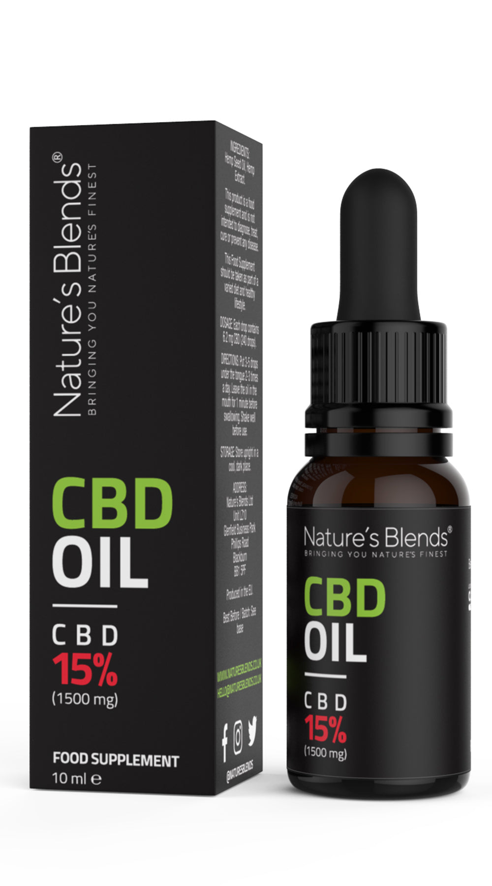 a bottle of 1500mg cbd oil along with natures blends packaging