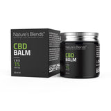 A 30ml tub of 300mg hemp cbd balm alongside packaging container by natures blends