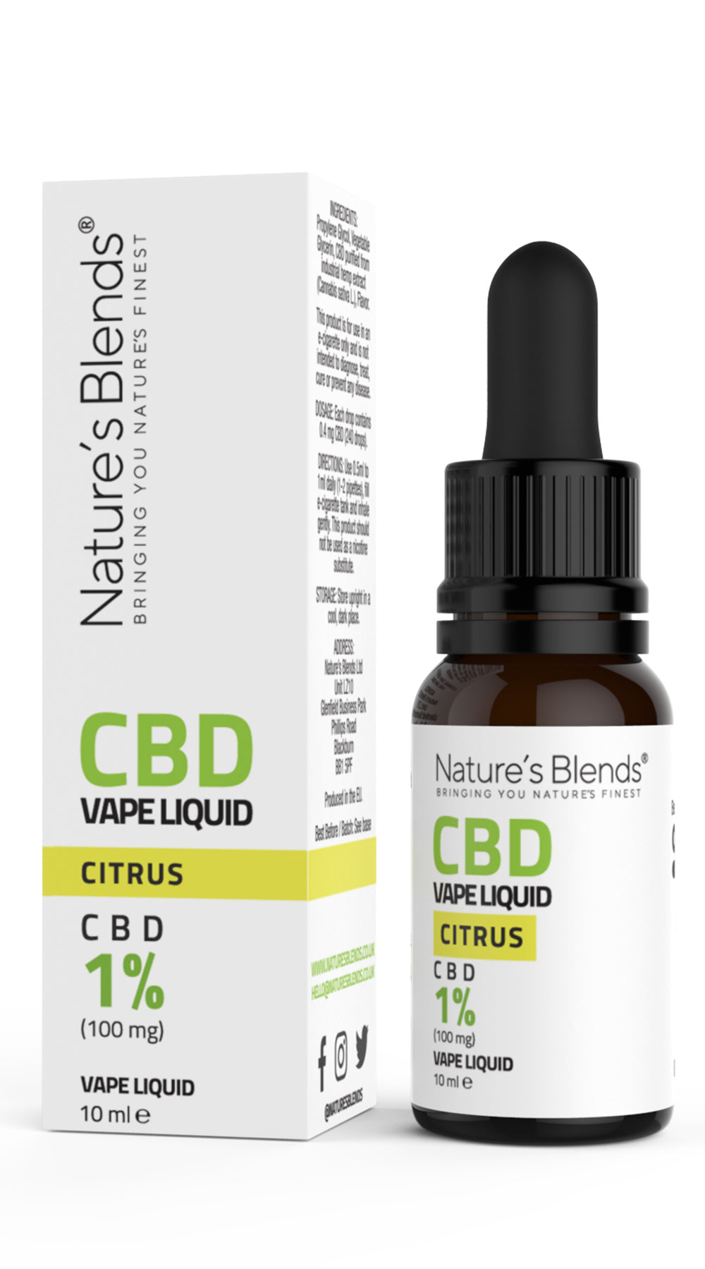 A 10ml bottle of 100mg cbd vape citrus flavour along side natures blends packaging