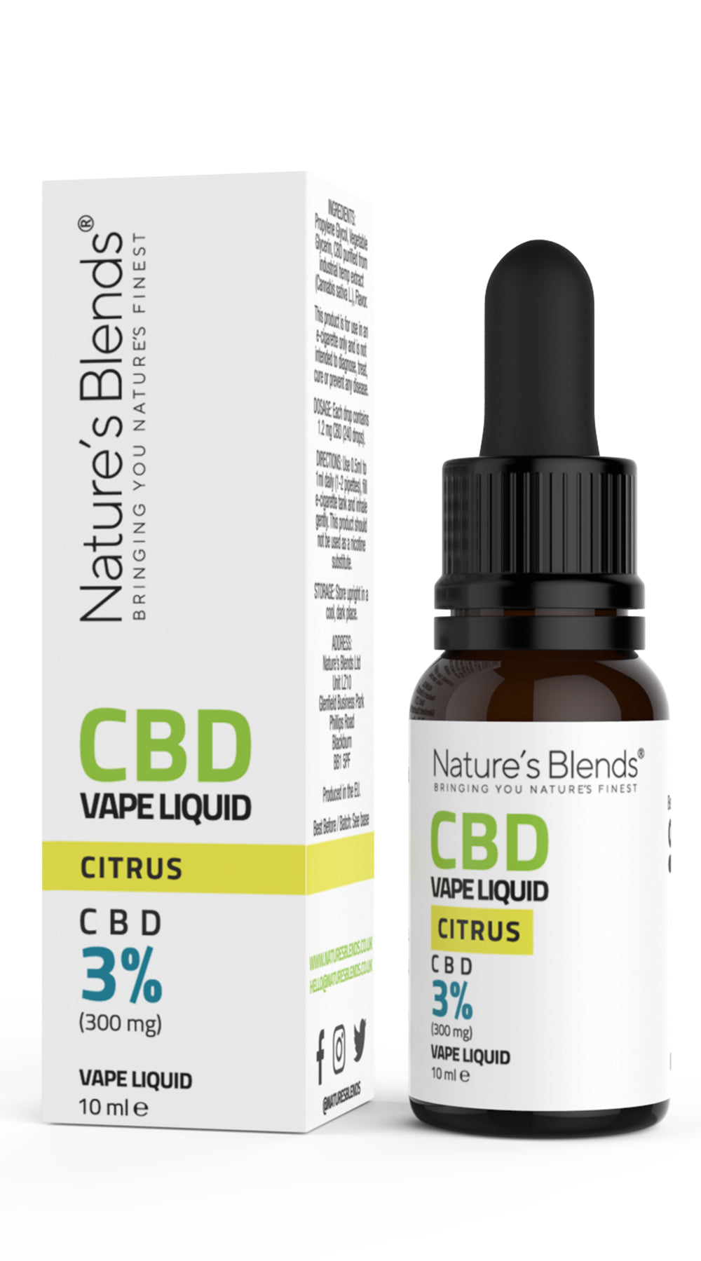 A 10ml bottle of 300mg cbd vape citrus flavour along side natures blends packaging