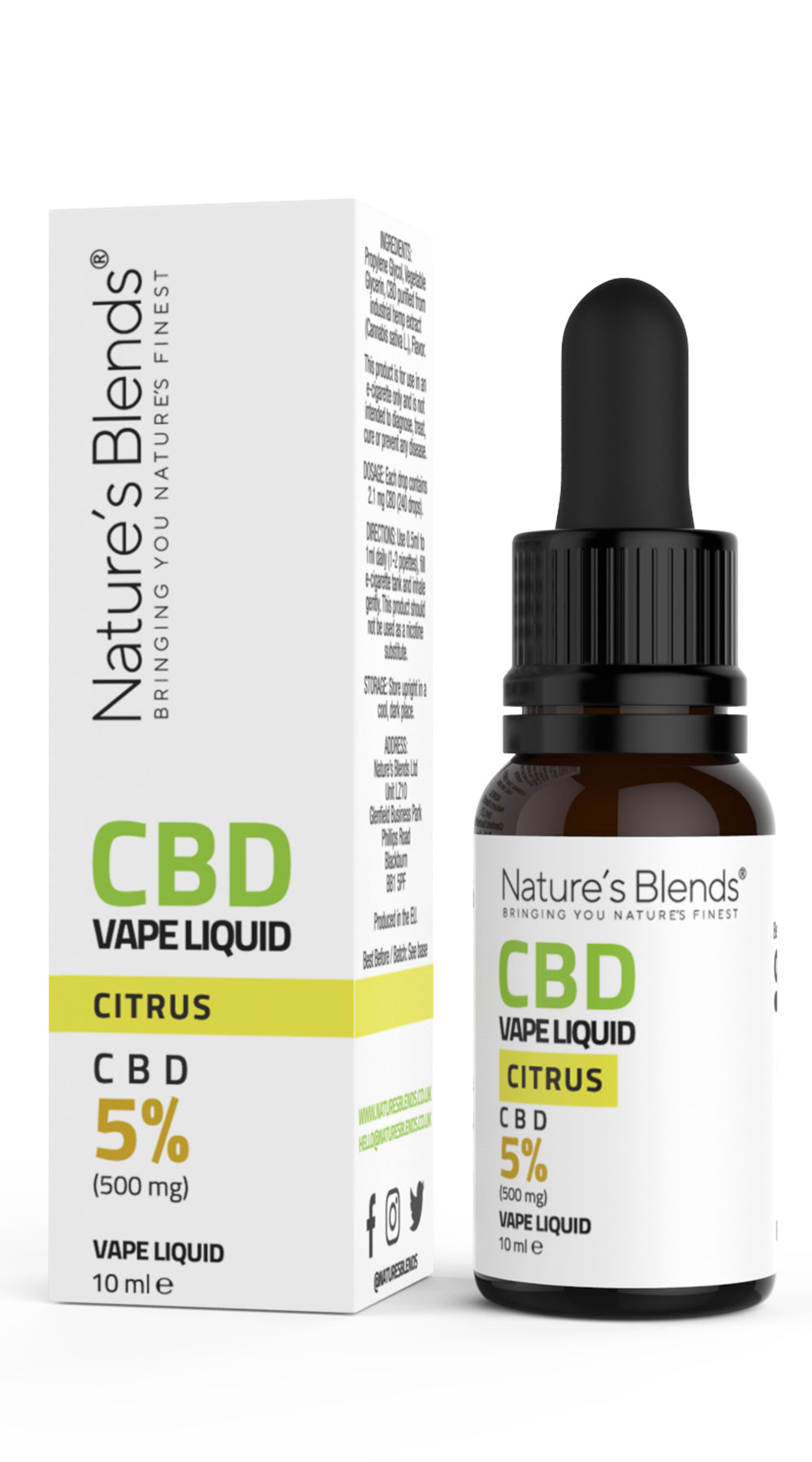 A 10ml bottle of 500mg cbd vape citrus flavour along side natures blends packaging