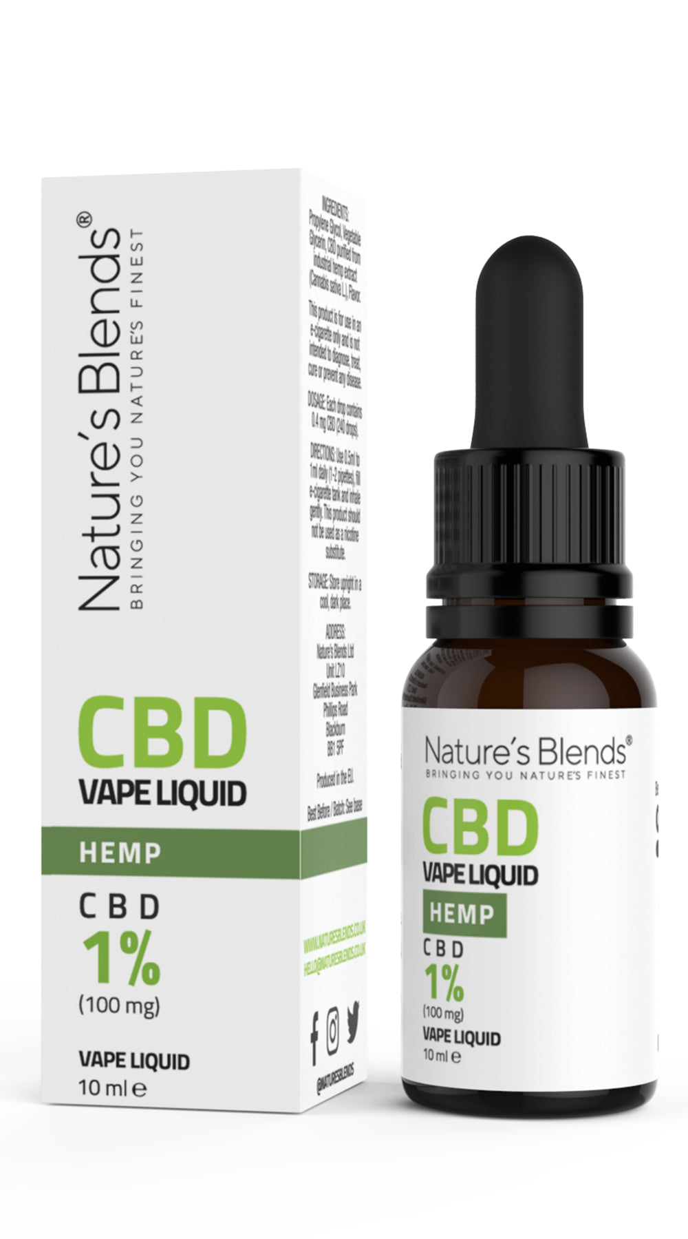A 10ml bottle of 100mg cbd vape hemp flavour along side natures blends packaging