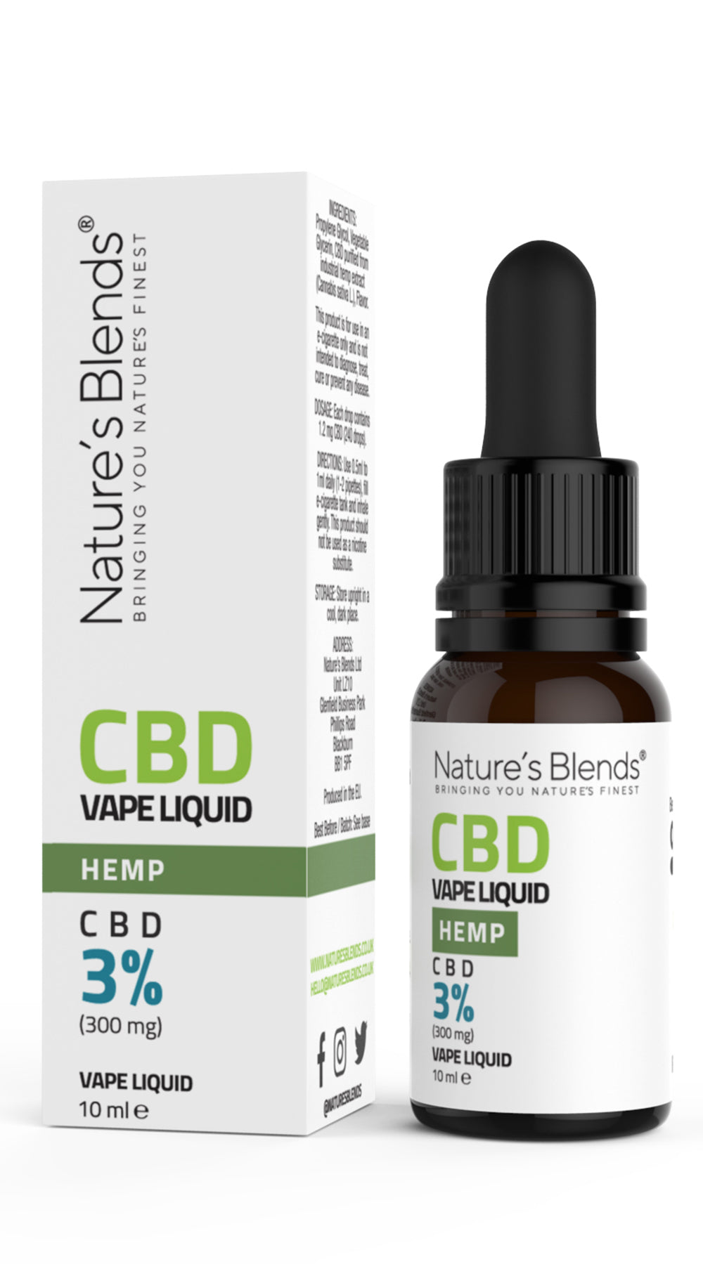 A 10ml bottle of 300mg cbd vape hemp flavour along side natures blends packaging