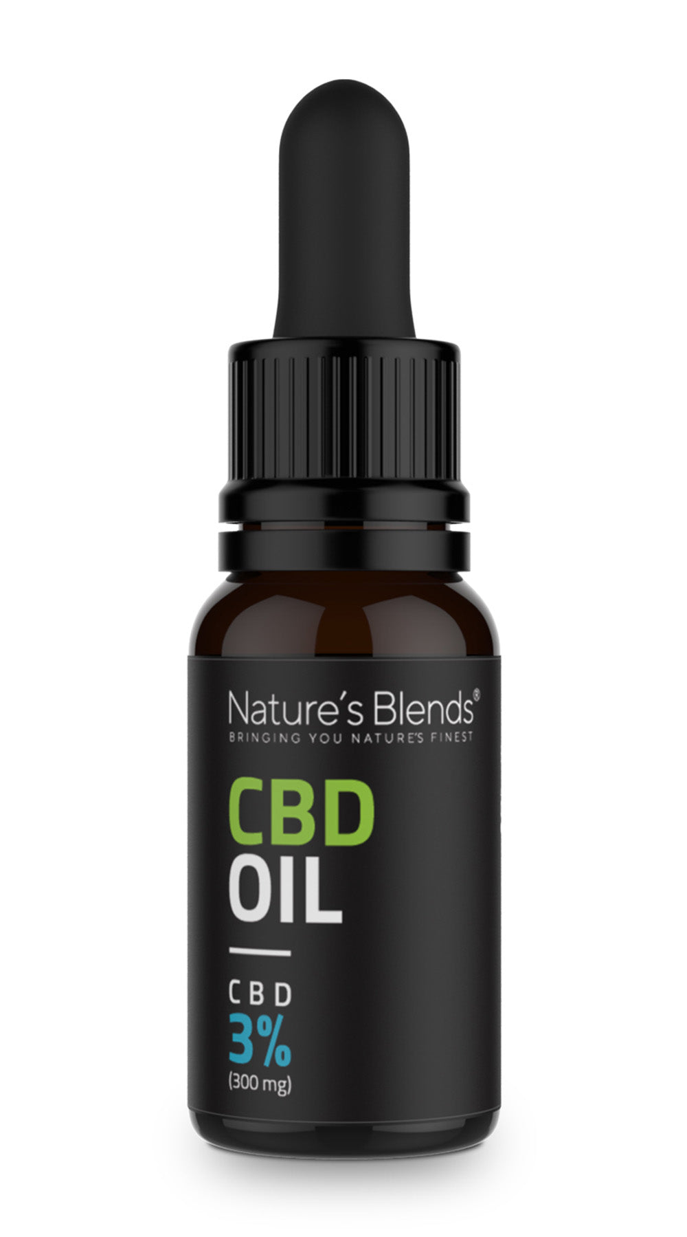 A 10ml bottle of 300mg cbd hemp oil with pipette by natures blends