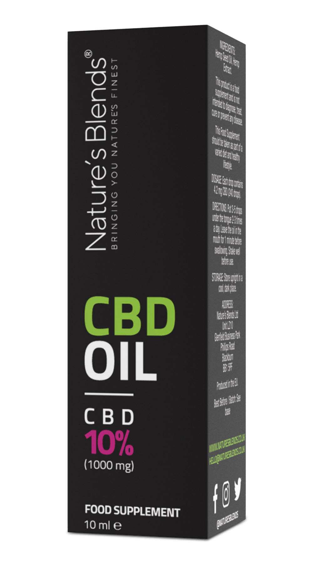 1000mg cbd oil packaging by natures blends