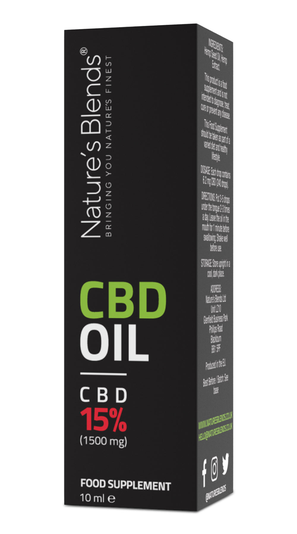 1500mg cbd oil packaging by natures blends