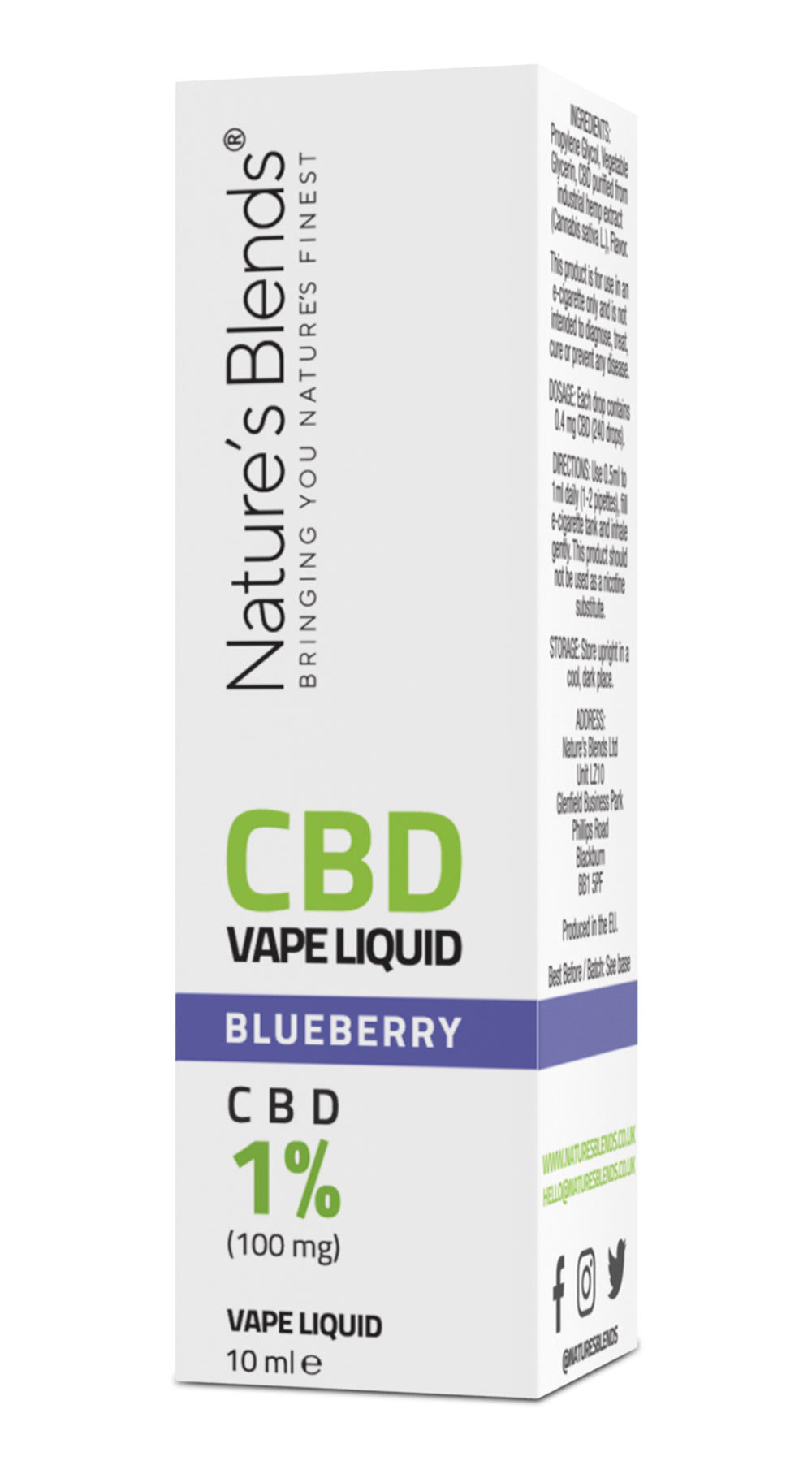 A blueberry flavour 100mg cbd vape packaging by natures blends