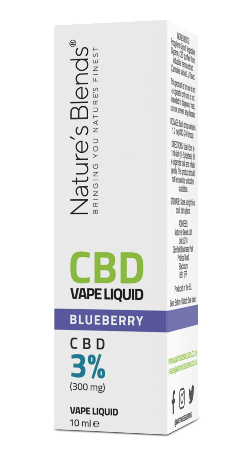A blueberry flavour 300mg cbd vape packaging by natures blends