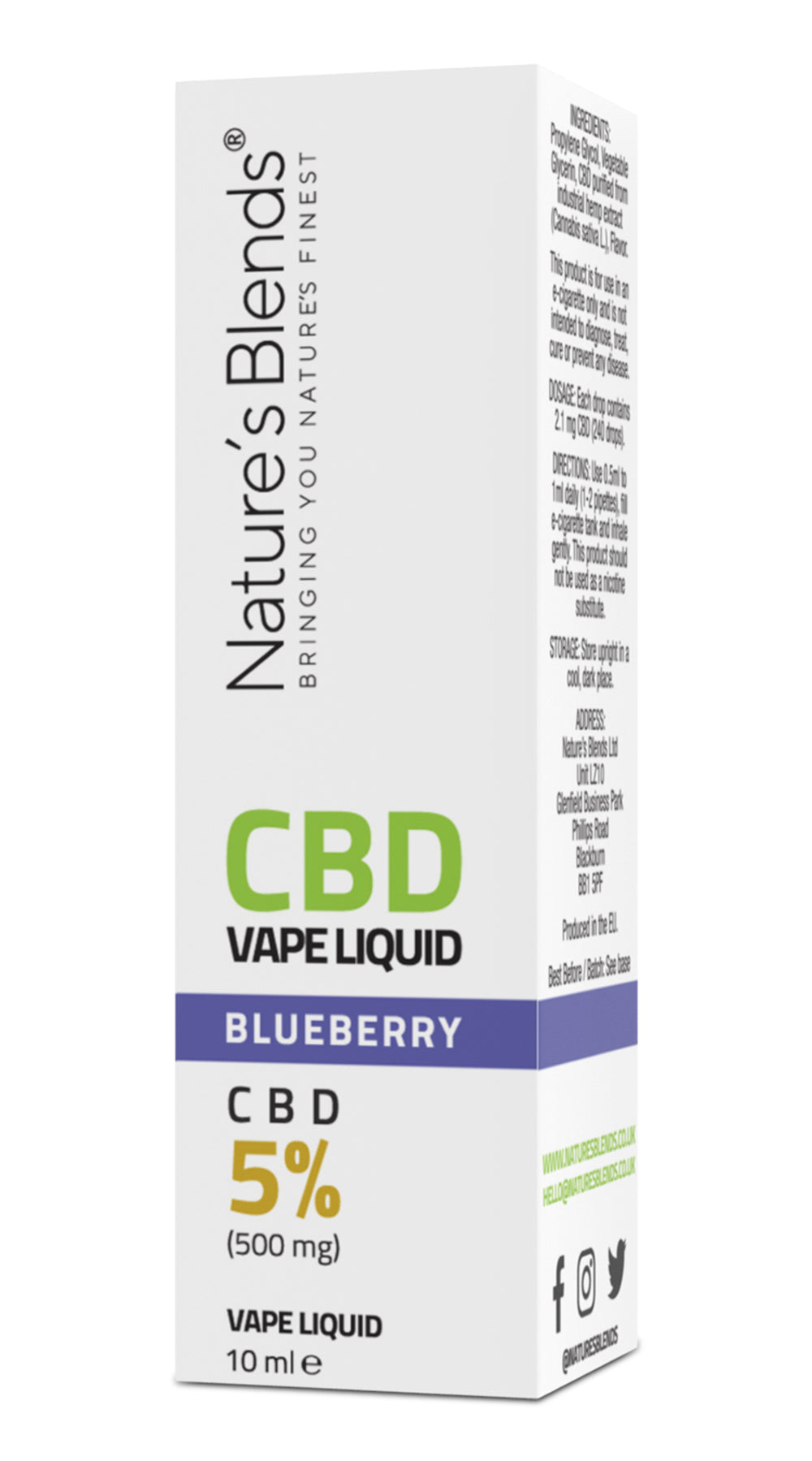A blueberry flavour 500mg cbd vape packaging by natures blends