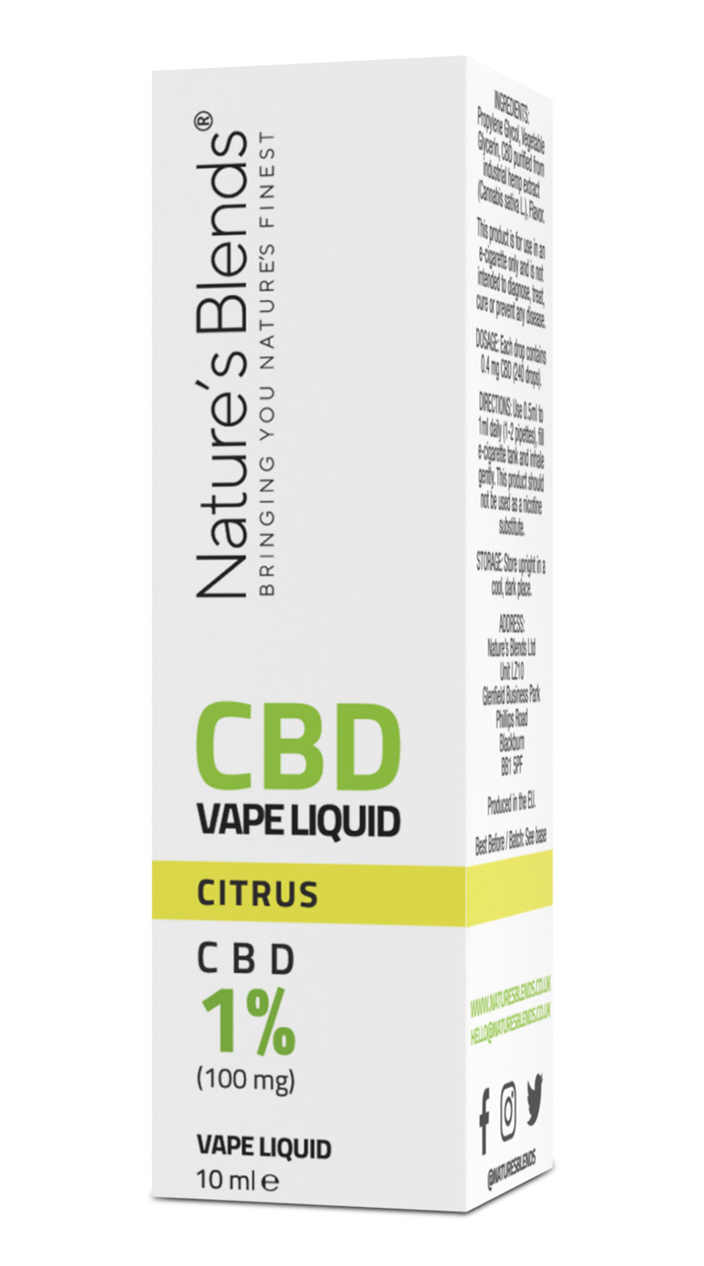 A citrus flavour 100mg cbd vape packaging by natures blends