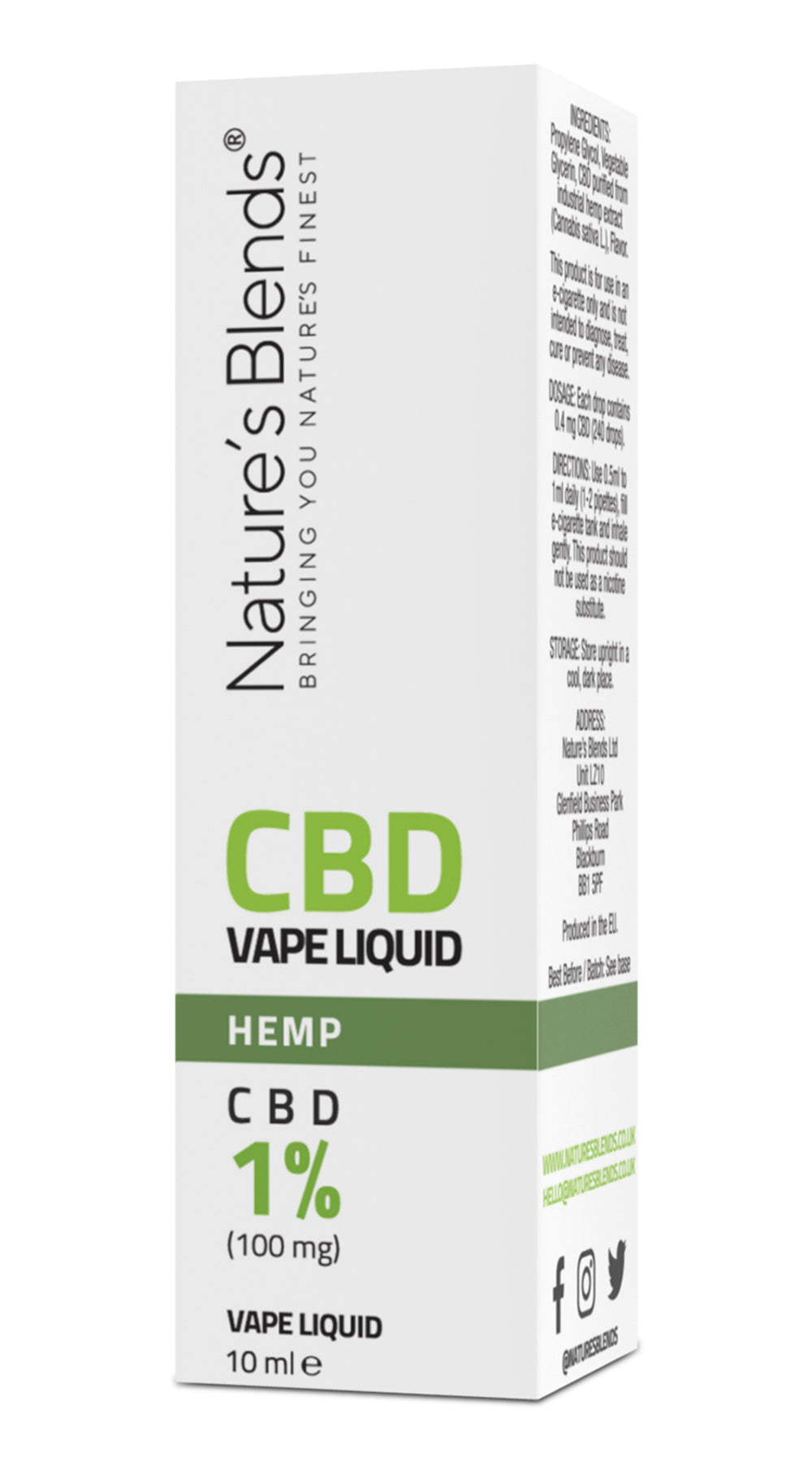 A hemp flavour 100mg cbd vape packaging by natures blends