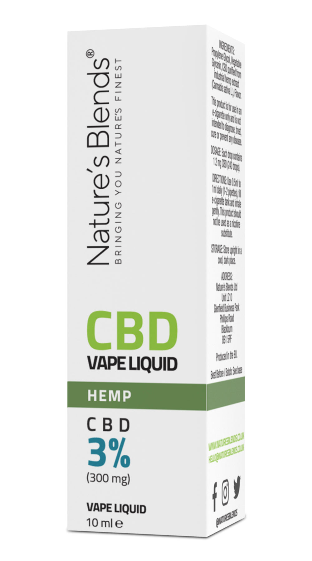 A hemp flavour 300mg cbd vape packaging by natures blends