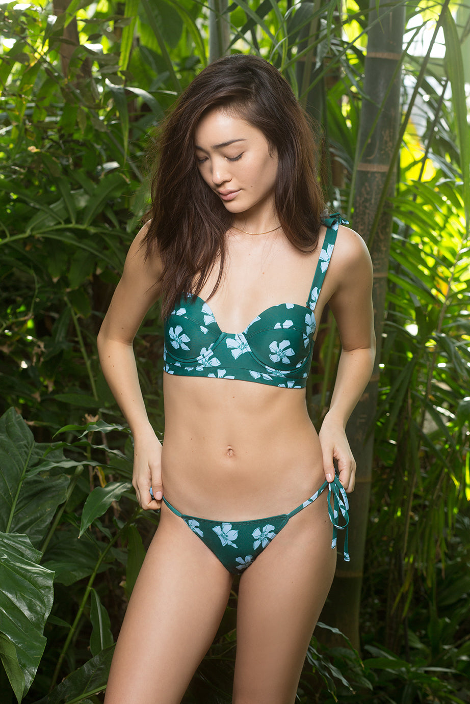 Ava Bottom - Oleander Print in Seaweed