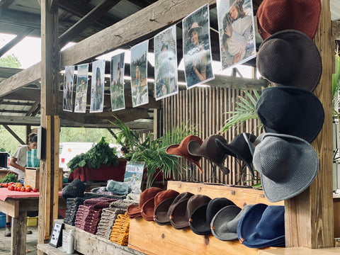 Ithaca Farmers Market, Booth Display, Packable Hats, Hat maker, Hats for Women, Sun Hats