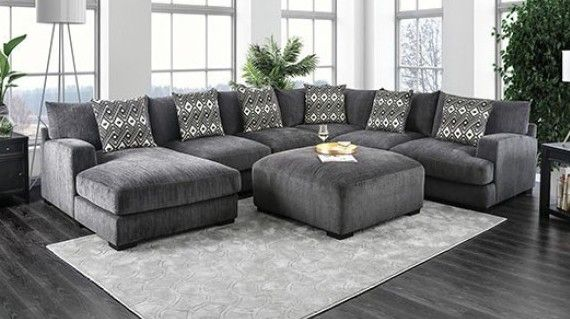 kaylee gray large sectional with ottoman