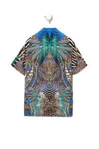 SHORT SLEEVE CAMP COLLARED SHIRT ANIMAL ARMY