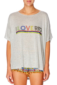 CAMILLA I HEART RIO GREY LOOSE FIT ROUND NECK T-SHIRT