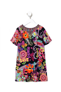 KIDS TSHIRT DRESS WITH FLARE HEM PEACE LOVE AND HAIR