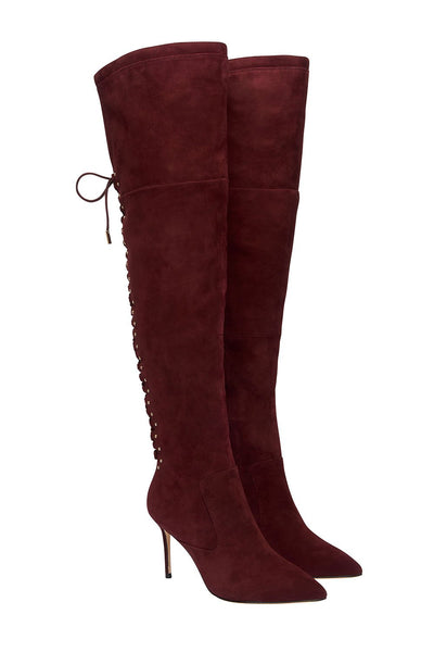 LACED THIGH HIGH BOOT BURGUNDY
