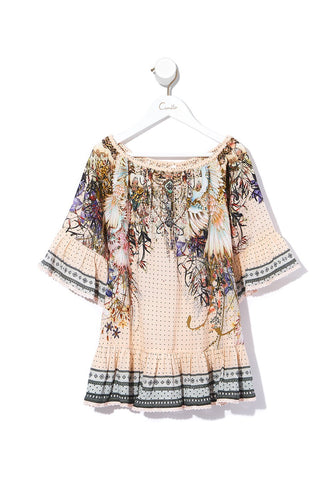KIDS A-LINE FRILL DRESS KINDRED SKIES