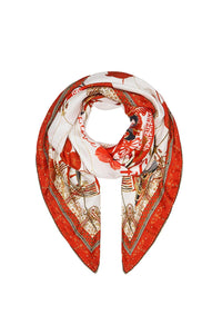 LARGE SQUARE SCARF SOLID RED