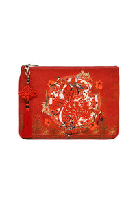 SMALL CANVAS CLUTCH SOLID RED