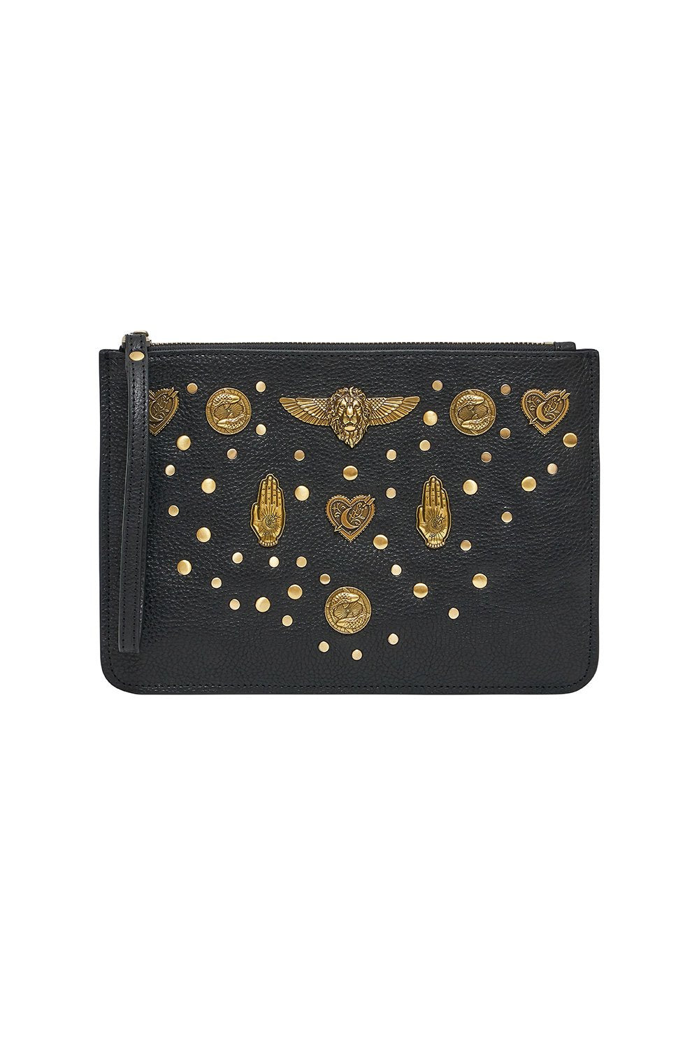 STUDDED LEATHER CLUTCH SOLID BLACK