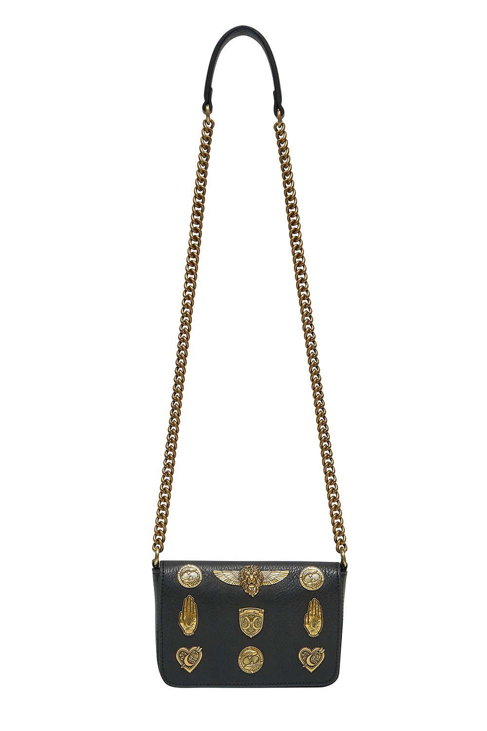 STUDDED LEATHER CROSS BODY SOLID BLACK