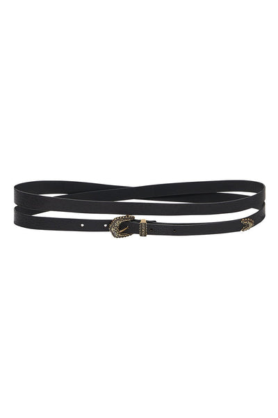 SKINNY DOUBLE WRAP BELT SOLID BLACK