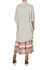 SOFT KNIT PONCHO WITH EMBROIDERY GREY ISTENANYA