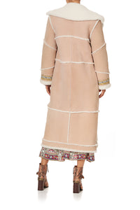 LONG SUEDE SHEARLING COAT ISTENANYA