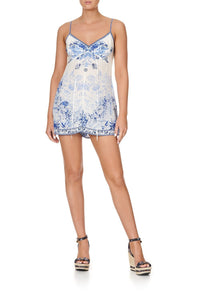TUCK FRONT PLAYSUIT HIGH TEA