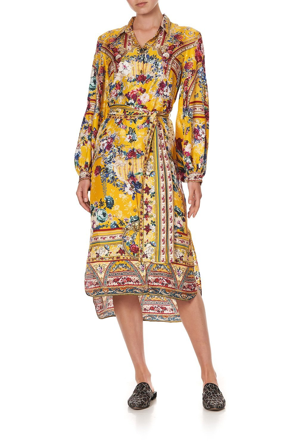 HIGH LOW MIDI SHIRT DRESS CROWNED ROSES