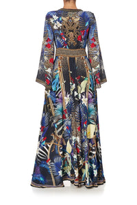 KIMONO SLEEVE DRESS WITH SHIRRING DETAIL RAINBOW ROOM