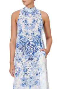 HIGH NECK DRESS WITH BACK NECK TIE HIGH TEA