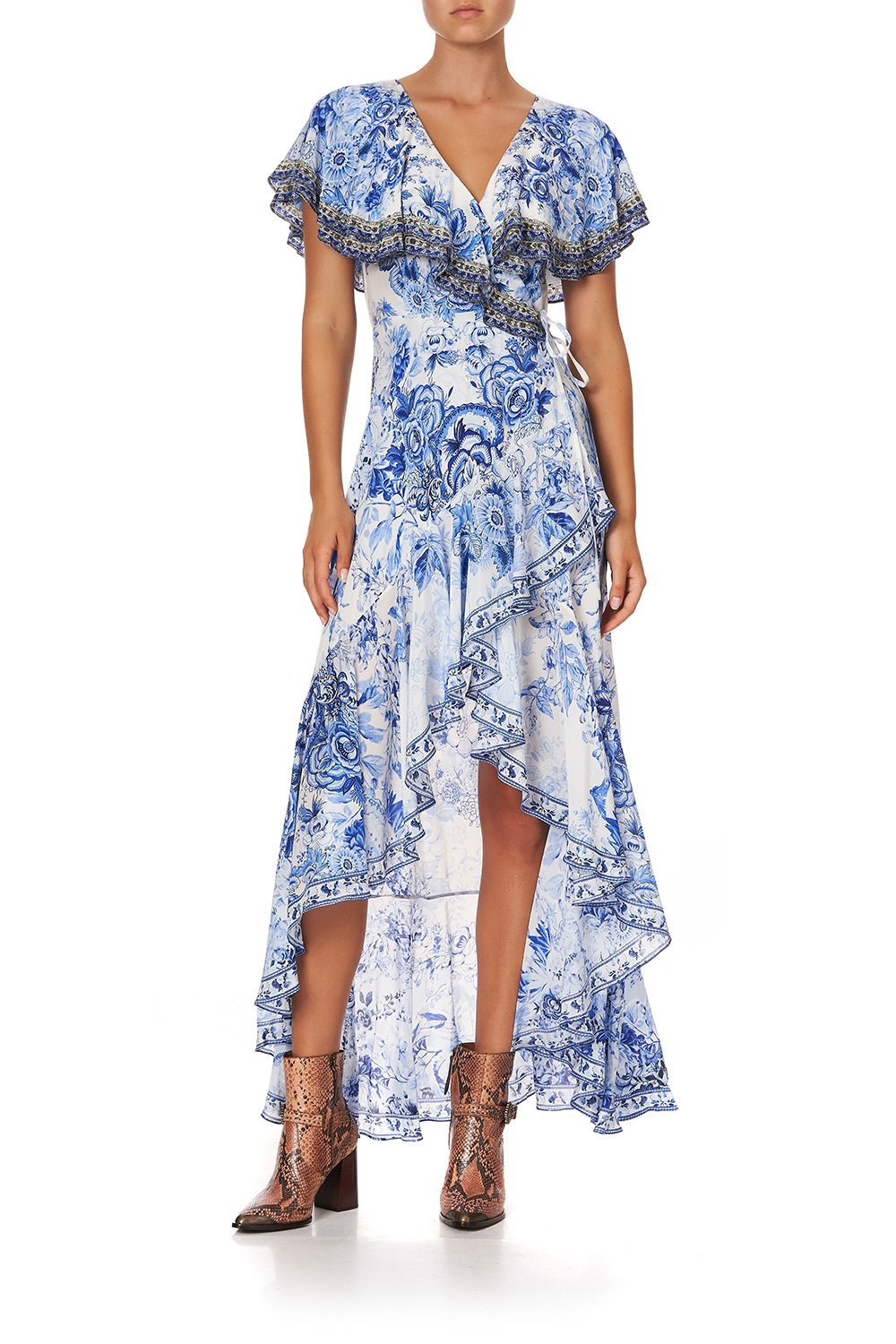 FRILL SLEEVE LONG DRESS HIGH TEA