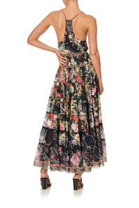 SHIRRED WAIST TIERED CIRCLE SKIRT HAMPTON HIVE