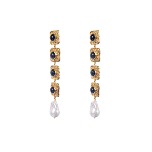 VALERE BLACK ONYX EARTH EARRINGS MULTI