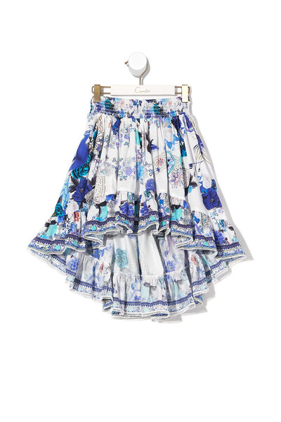 KIDS HIGH LOW HEM SKIRT WHITE SIDE OF THE MOON
