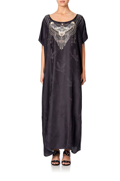 SLIM ROUND NECK KAFTAN SOLID BLACK