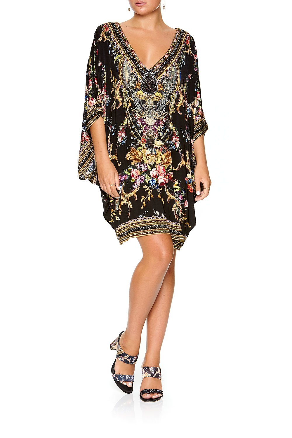CAMILLA BAT SLEEVE DRESS FRIEND IN FLORA