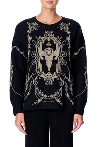 EMBELLISHED ROUND NECK JUMPER MARAIS AT MIDNIGHT