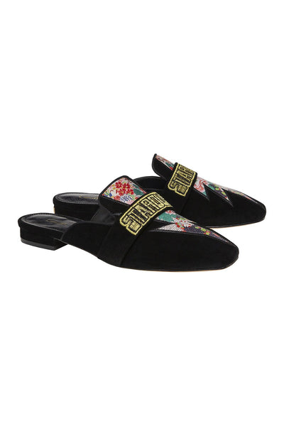 CAMILLA BLACK SQUARE TOE SLIPPER WITH STRAP