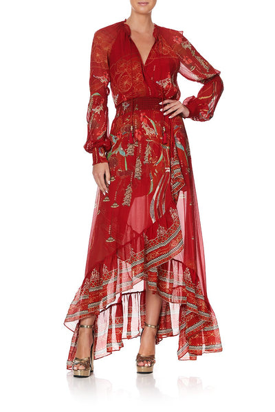 BLOUSON SLEEVE WRAP DRESS FORBIDDEN FRUIT