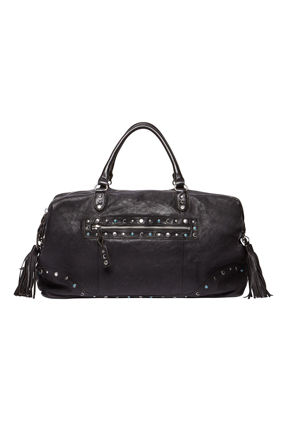 BOHEMIAN LEATHER TRAVEL BAG BLACK