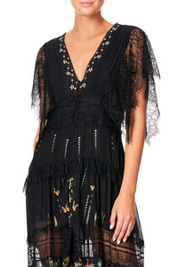 CAMILLA BUTTON UP DRESS WITH LACE INSERT REBELLE REBELLE