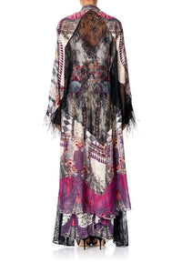 LAYERING ROBE WITH LACE INSERT VIOLET CITY