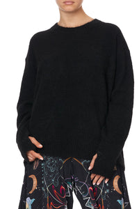 CREW NECK JUMPER WITH SPLIT SLEEVE MOONLIT MUSINGS