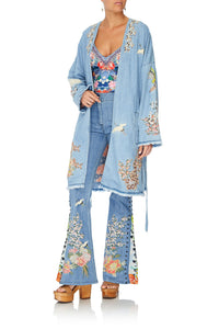 DENIM COAT WITH SPLITS THE STILL ABYSS