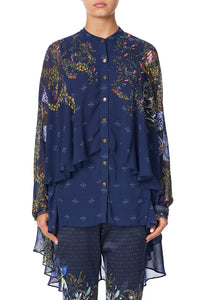 DRAPED BUTTON FRONT BLOUSE SOUTHERN TWILIGHT